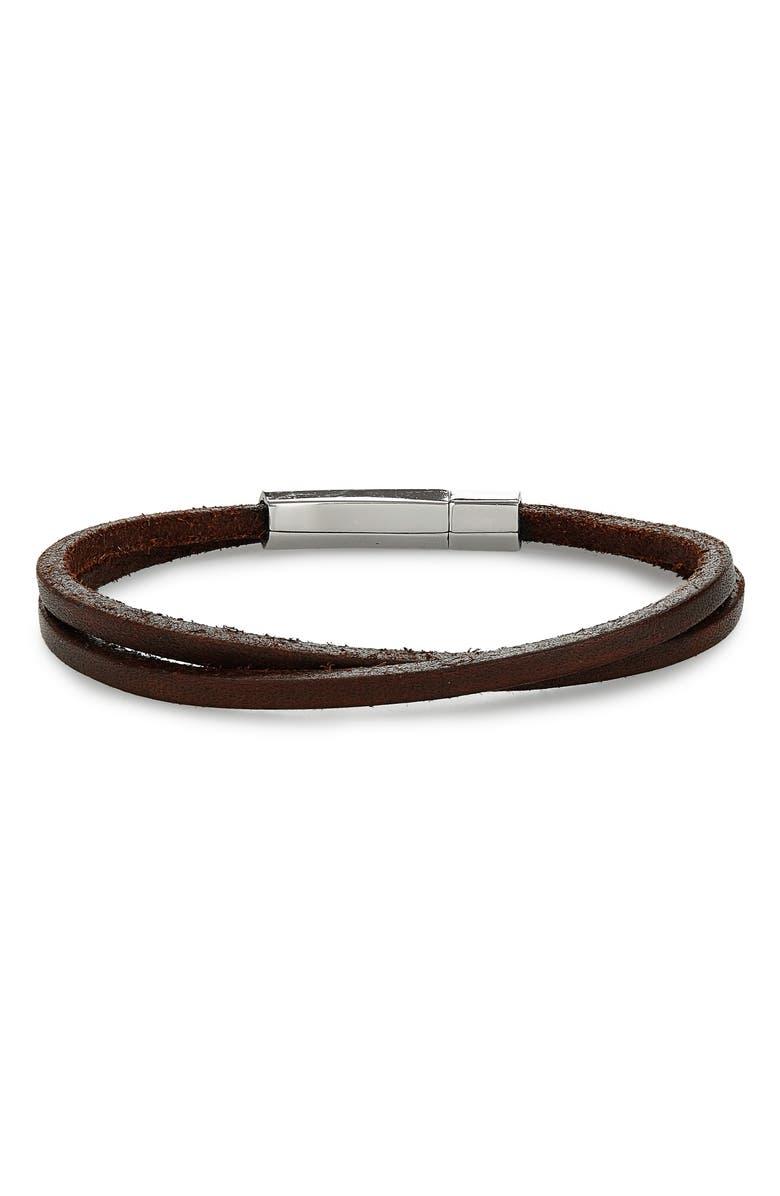 JONAS STUDIO Leather Wrap Bracelet, Main, color, BROWN