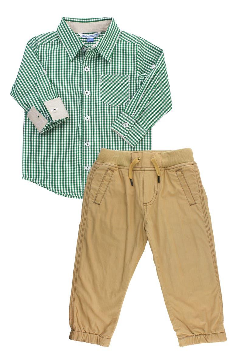 RUGGEDBUTTS Gingham Shirt & Chinos Set, Main, color, GREEN