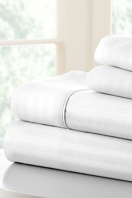 Image of IENJOY HOME California King Hotel Collection Premium Ultra Soft 4-Piece Striped Bed Sheet Set - White