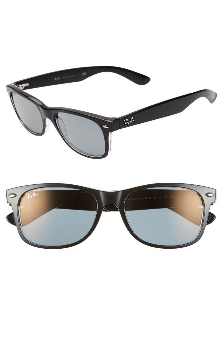 RAY-BAN 'New Wayfarer' 55mm Sunglasses, Main, color, TRANSPARENT BLACK MIRROR