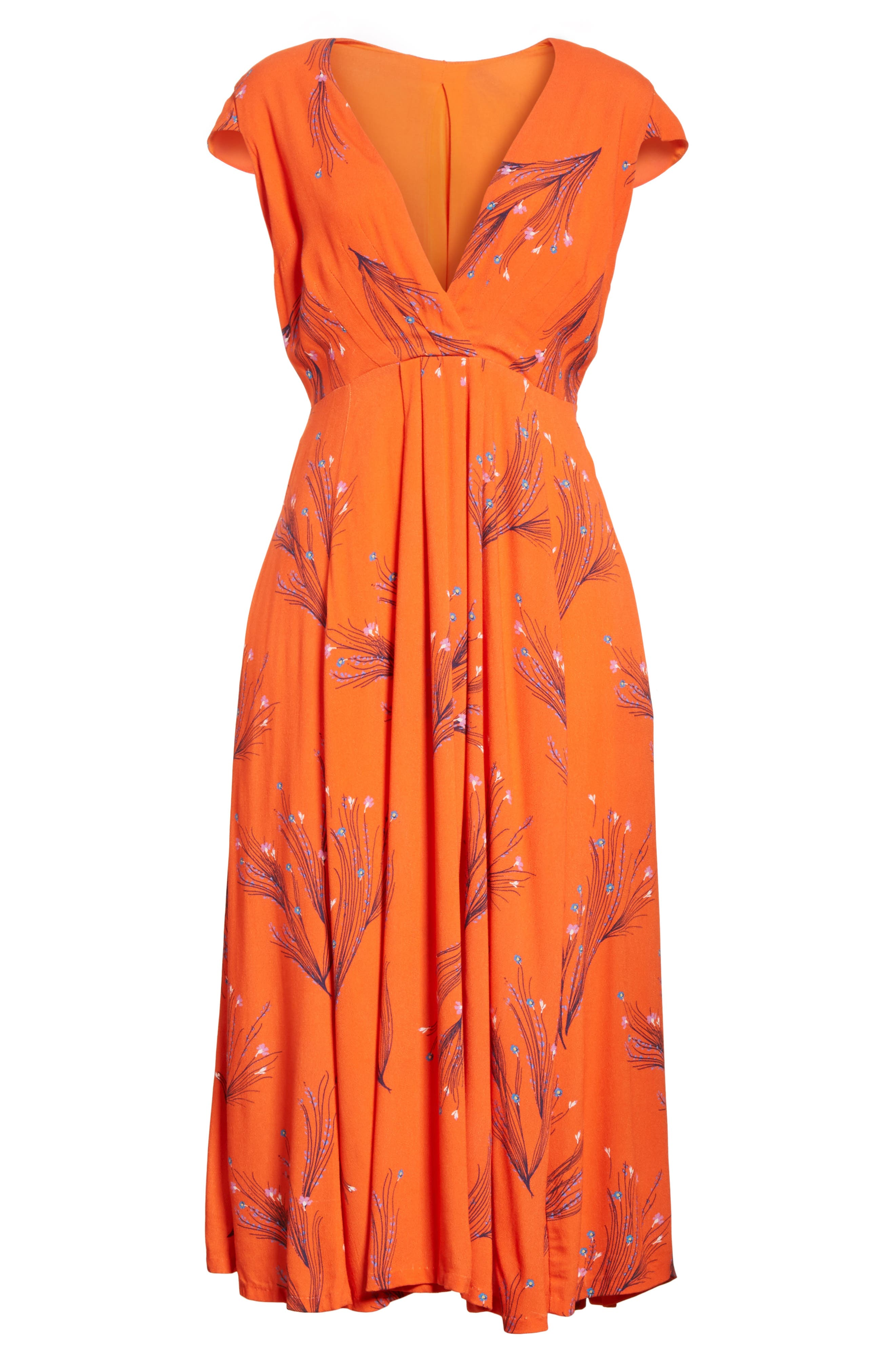 ,                             Print Retro Midi Dress,                             Alternate thumbnail 14, color,                             600