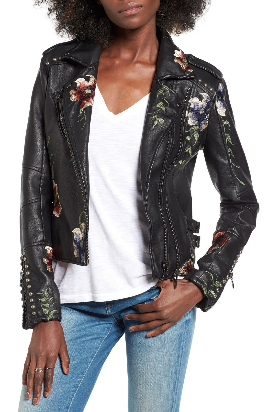 ,                             Embroidered Faux Leather Moto Jacket,                             Main thumbnail 1, color,                             001