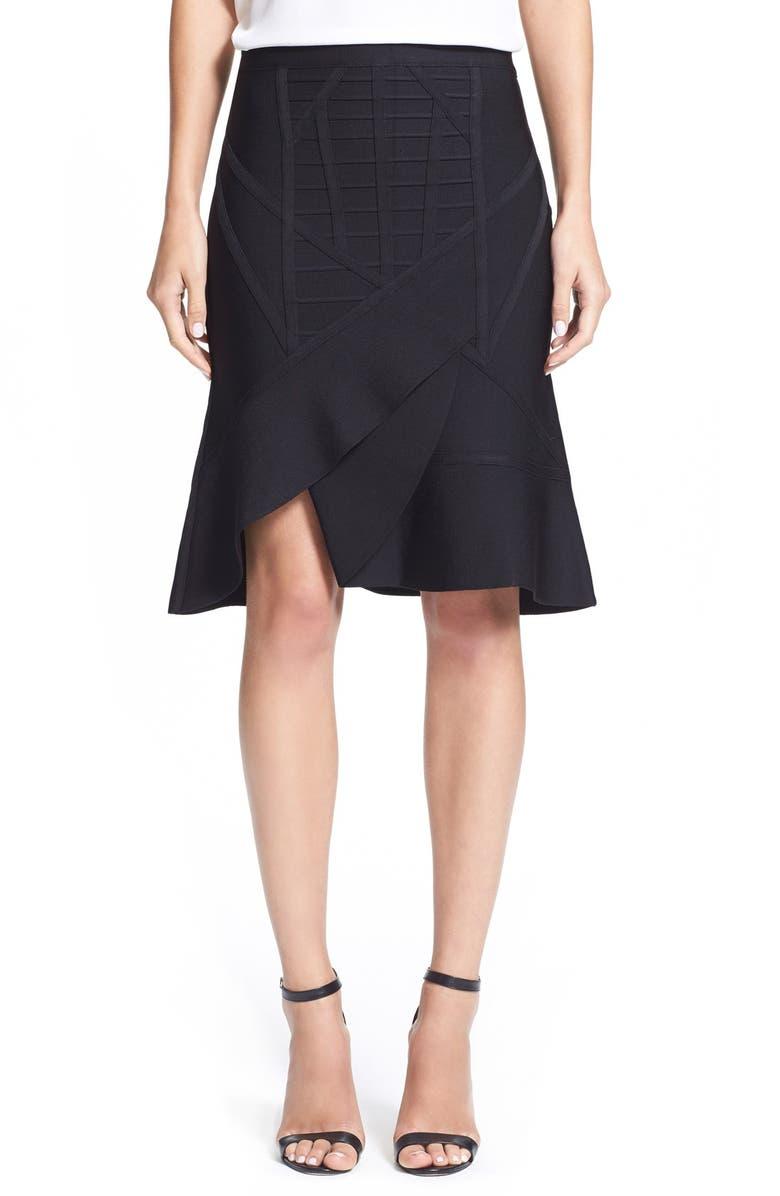 HERVE LEGER HerveLeger 'Adalie' Flared Bandage Skirt, Main, color, 001