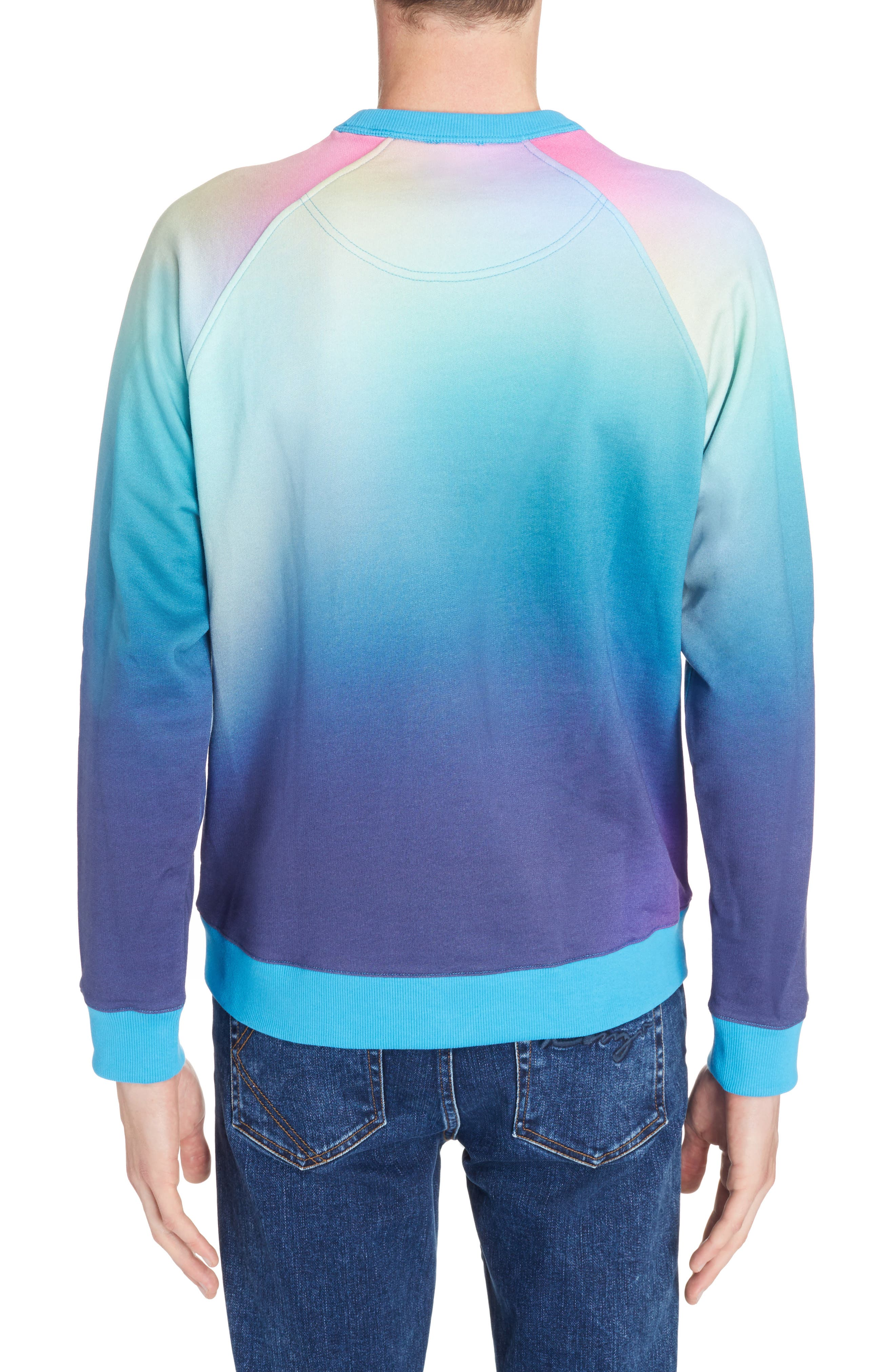 ,                             Rainbow Embroidered Tiger Sweatshirt,                             Alternate thumbnail 2, color,                             CYAN BLUE