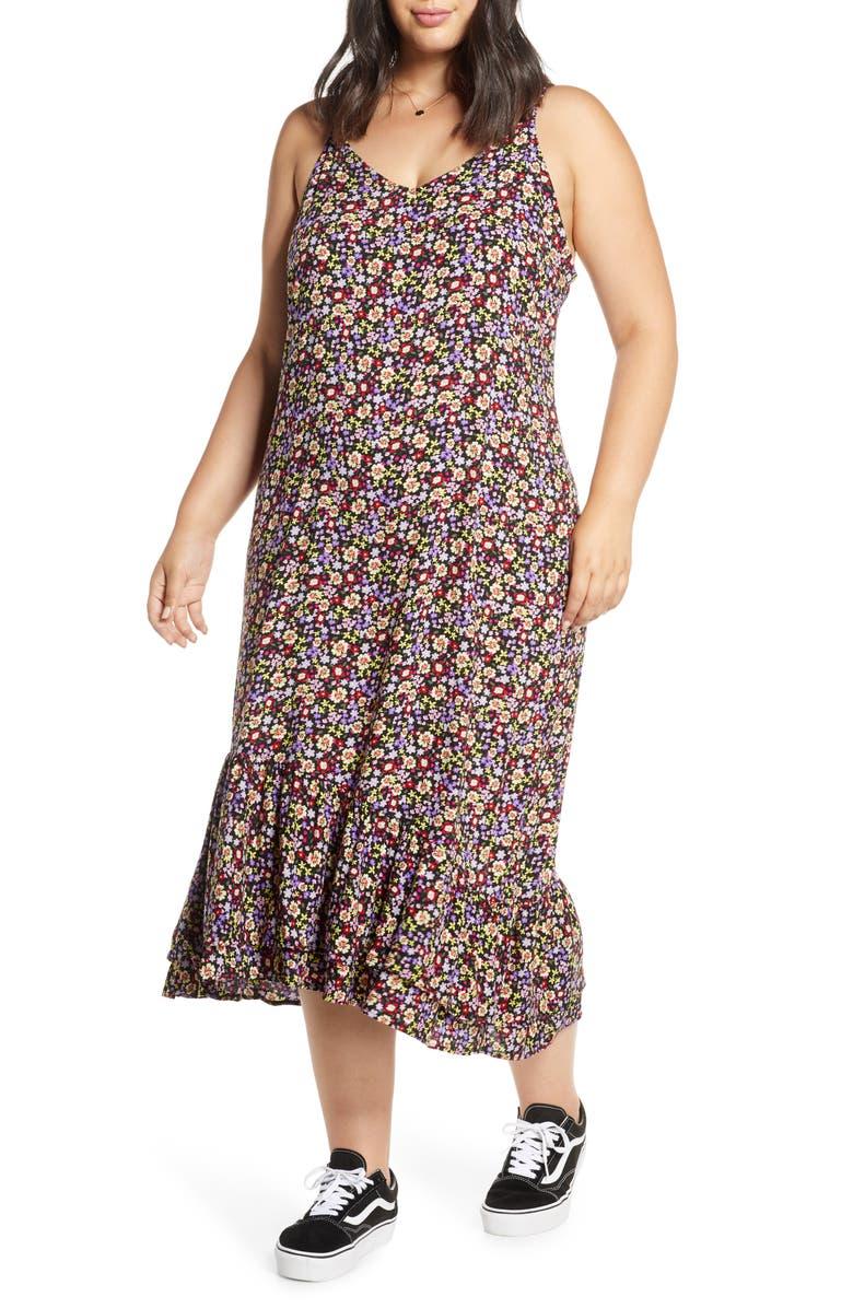 BP. Floral Sundress, Main, color, PURPLE HYACINTH FLORAL FIELD
