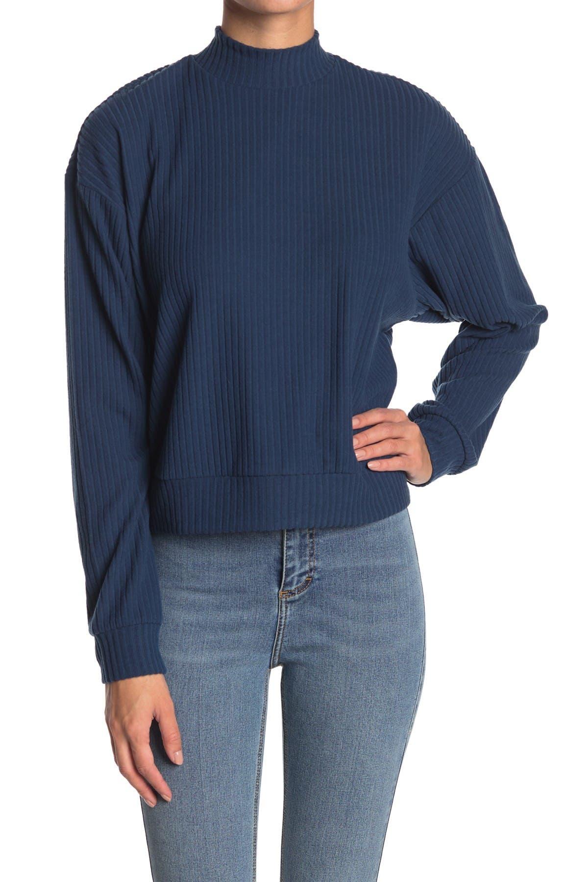 Image of Abound Brushed Ribbed Knit Mock Neck Sweater