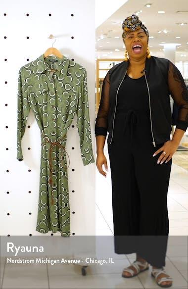 Mandalyn Print Long Sleeve Midi Shirtdress, sales video thumbnail