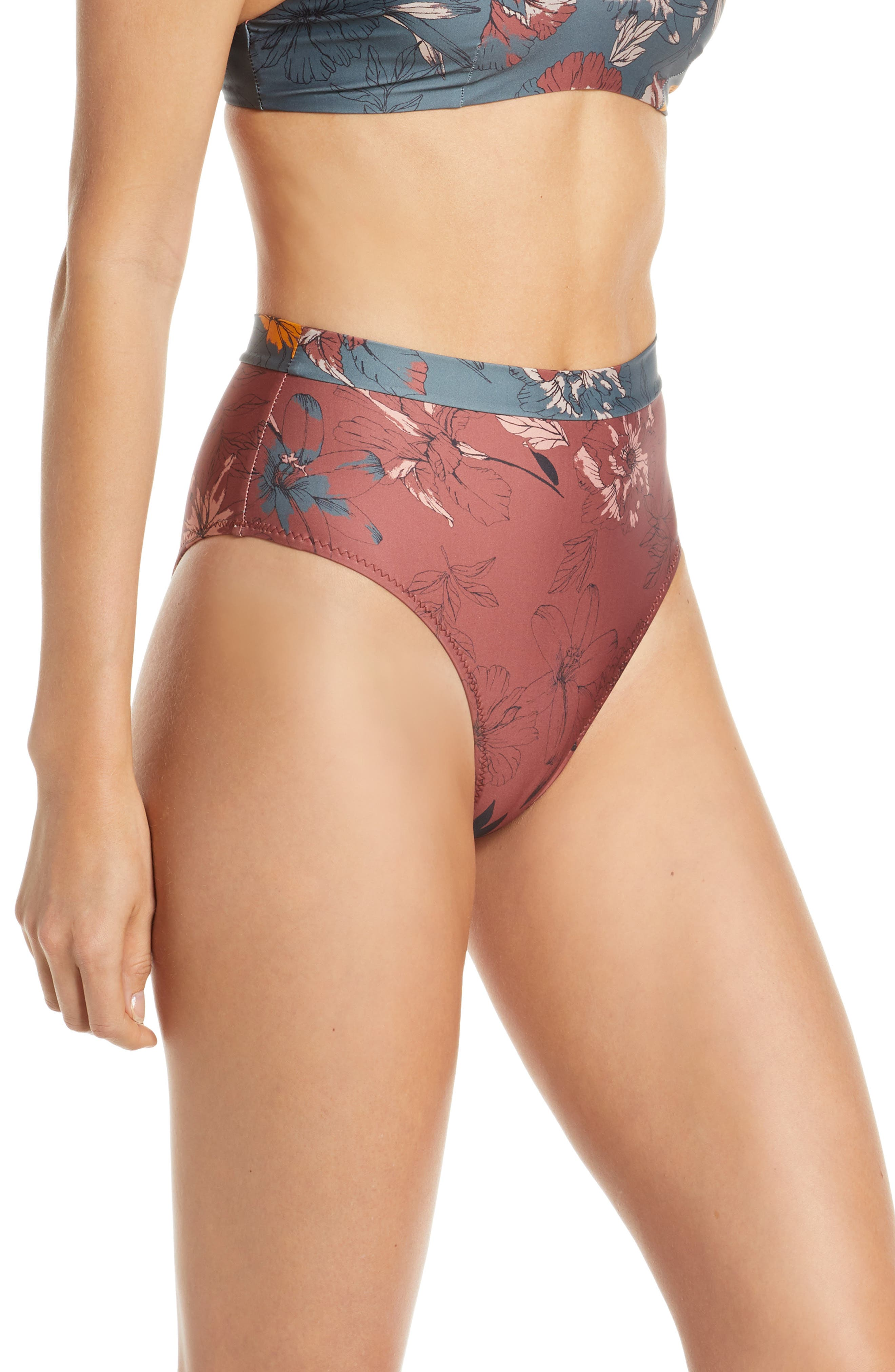 ,                             Pernille High Waist Bikini Bottoms,                             Alternate thumbnail 4, color,                             BERRY FLORAL