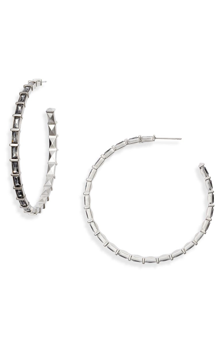 KENDRA SCOTT Thora Large Hoop Earrings, Main, color, RHODIUM/ GREY CZ