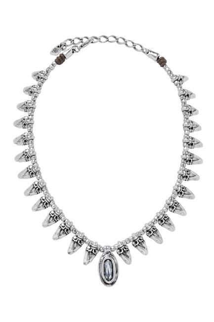 Image of Uno De 50 Silver Clad Gray Stone Collar Necklace
