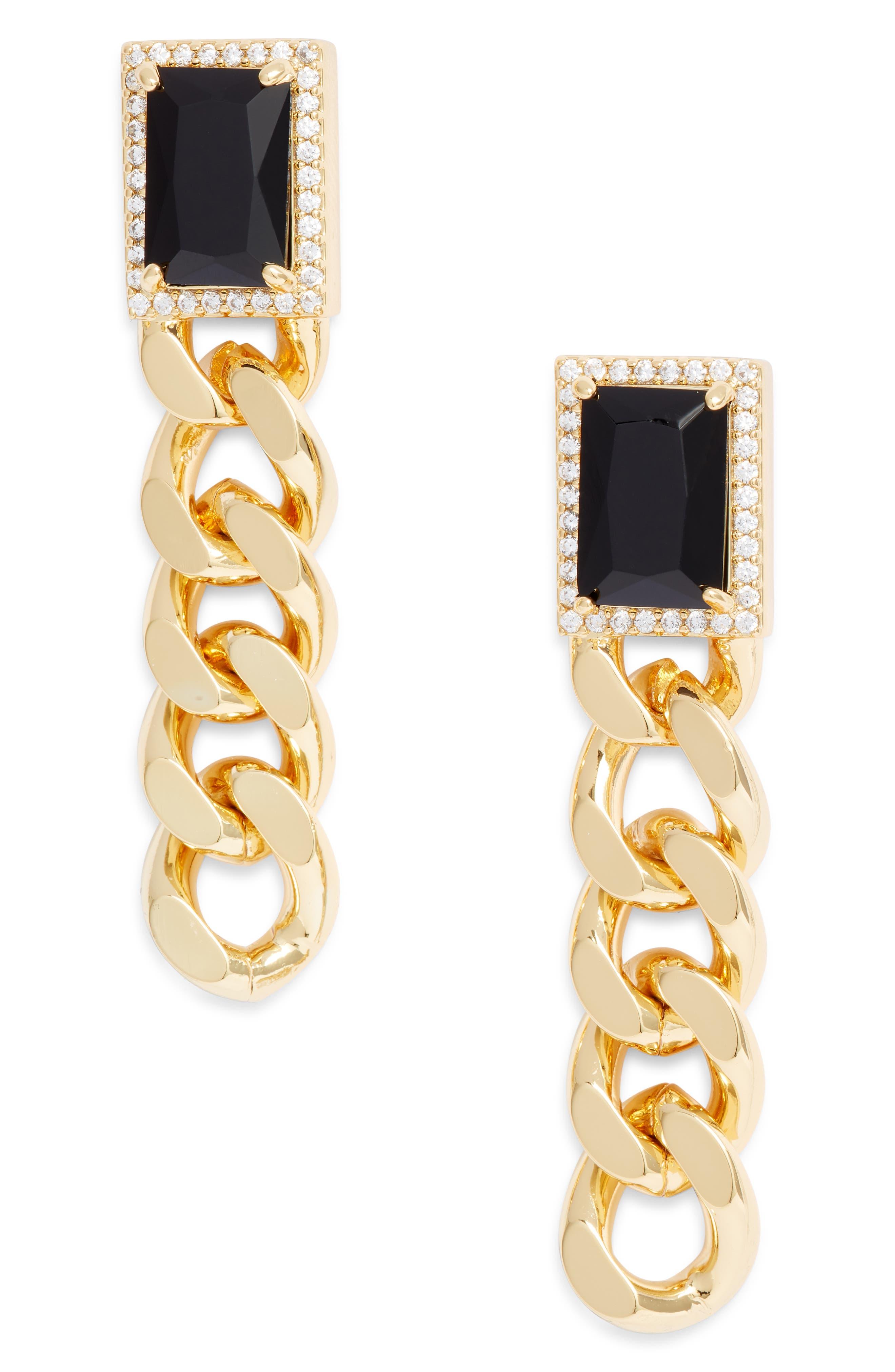 Jolene Onyx & Curb Chain Earrings