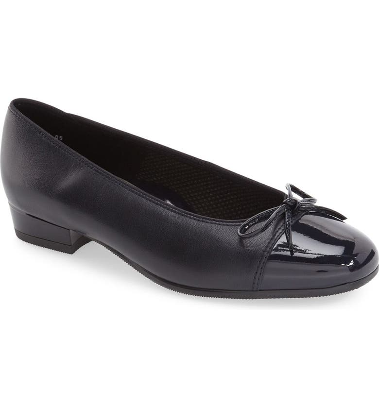 ARA 'Bel' Cap Toe Pump, Main, color, NAVY LEATHER