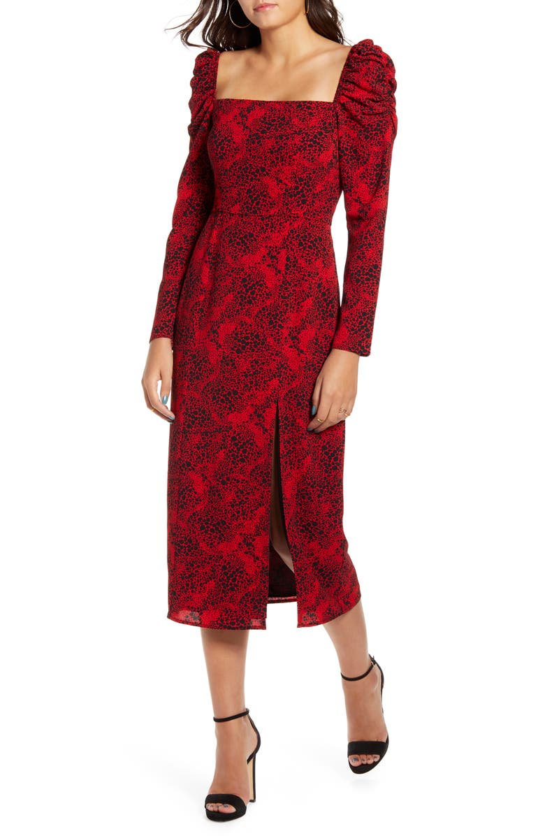 LEITH Spatter Print Square Neck Long Sleeve Midi Dress, Main, color, RED CHILI- BLACK DOT