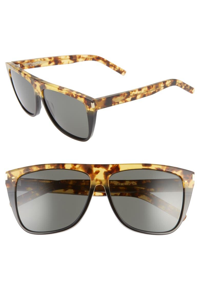 SAINT LAURENT 59mm Flat Top Sunglasses, Main, color, HAVANA/ GRE