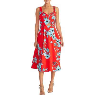 Rachel Rachel Roy Cutout Floral Midi Sundress, Red