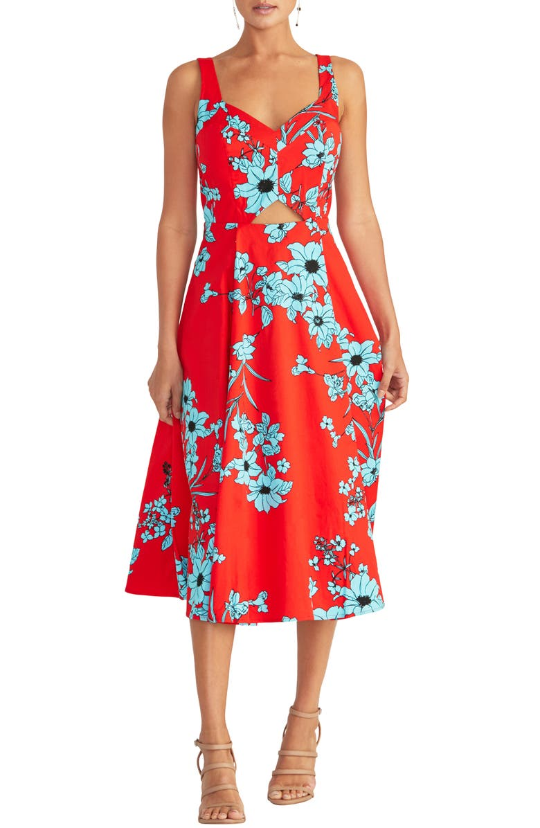 RACHEL RACHEL ROY Cutout Floral Midi Sundress, Main, color, RIO RED