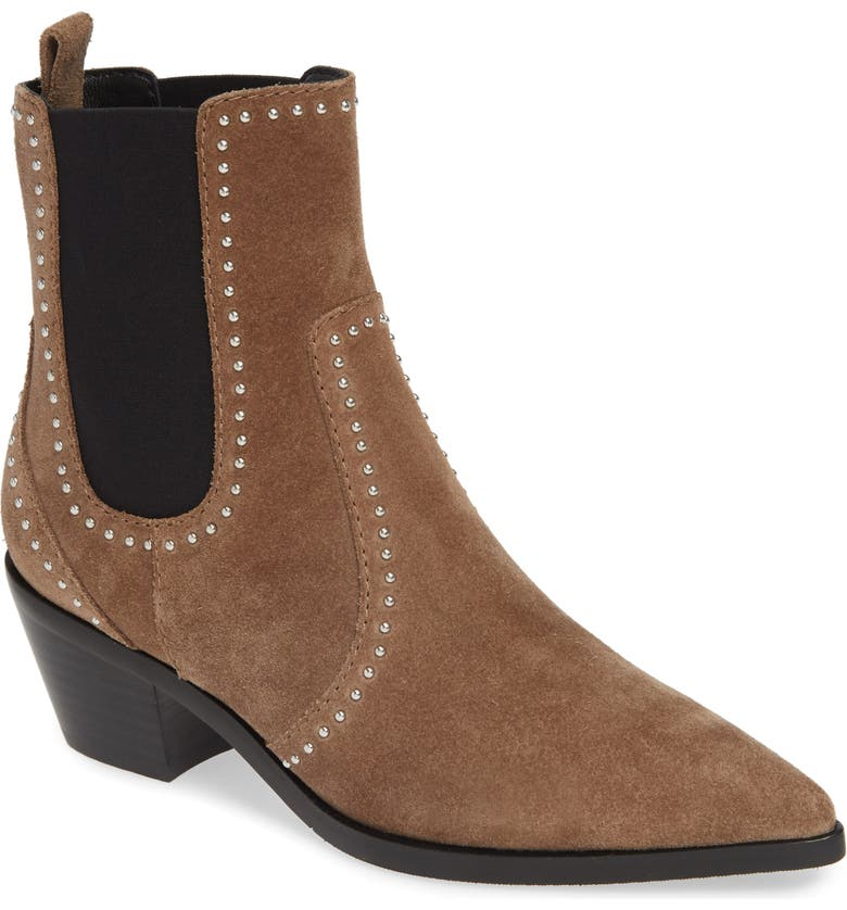 PAIGE Willa Studded Chelsea Boot, Main, color, TAUPE SUEDE
