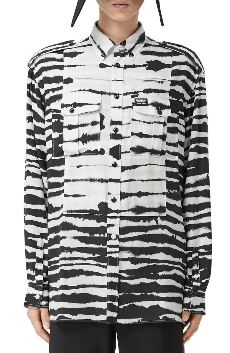 BURBERRY Zebra Print Button-Down Utility Shirt, Main, color, MONOCHROME IP PTTN