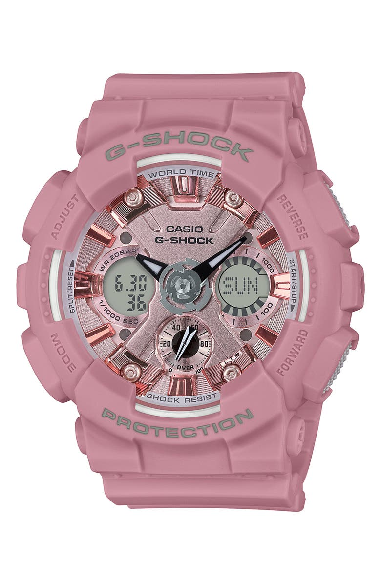 G-SHOCK BABY-G G-Shock S-Series Ana-Digi Resin Watch, 46mm, Main, color, PINK