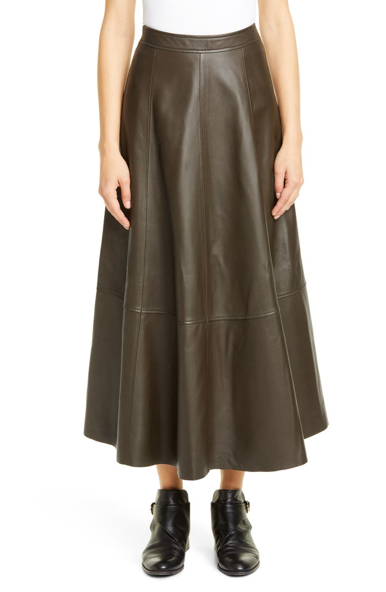 CO Lambskin Leather Midi Skirt, Main, color, OLIVE