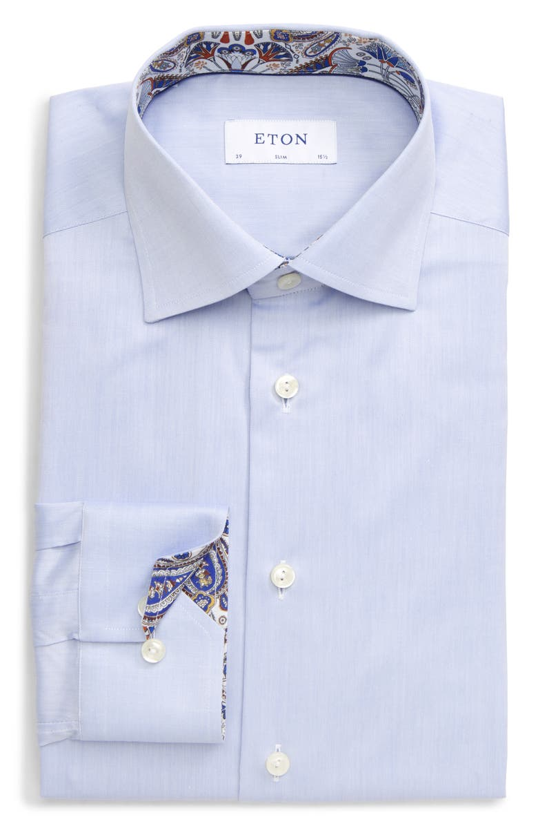 ETON Slim Fit Solid Dress Shirt, Main, color, BLUE