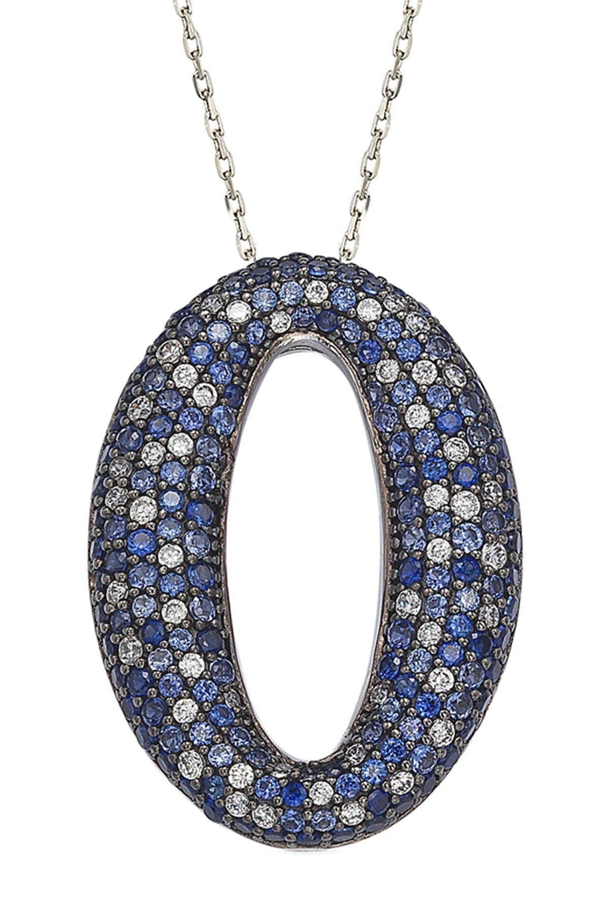 Image of Suzy Levian Two-Tone Blue Sapphire, Created White Sapphire & Brown Diamond Oval Pendant Necklace