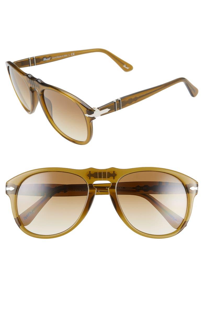 PERSOL 54mm Aviator Sunglasses, Main, color, TRANSPARENT GREEN/ GRAD BROWN