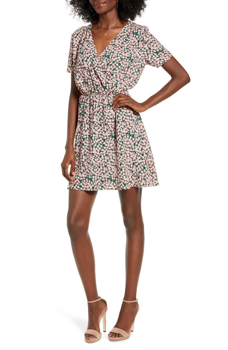 ALL IN FAVOR Floral Short Sleeve Dress, Main, color, GREEN-BLUSH