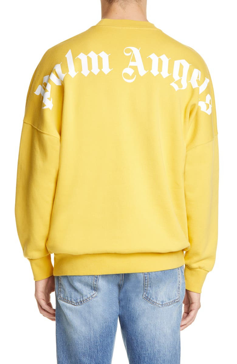 PALM ANGELS Logo Print Oversize Sweatshirt, Main, color, YELLOW WHITE