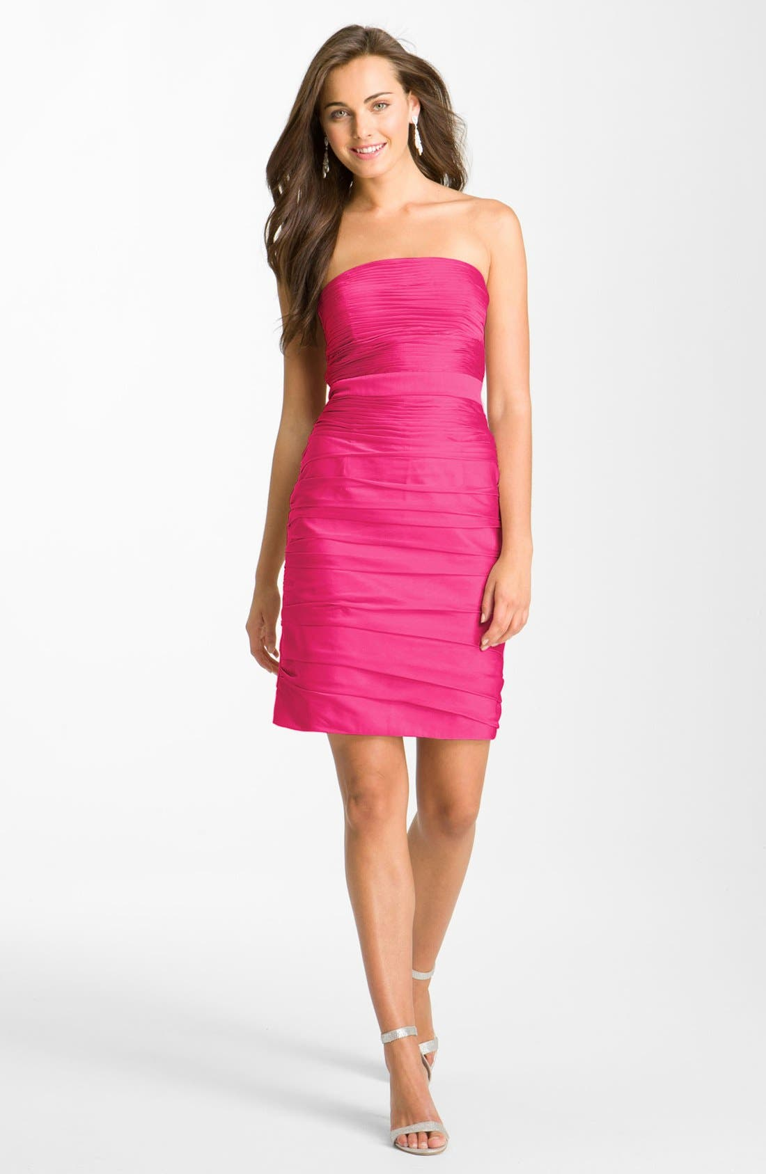 ,                             Ruched Strapless Cationic Chiffon Dress,                             Alternate thumbnail 64, color,                             655