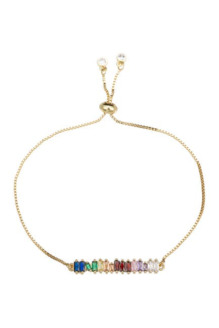 Image of Eye Candy Los Angeles Emily 18K Yellow Gold Plated Baguette Cut Rainbow CZ Adjustable Bracelet