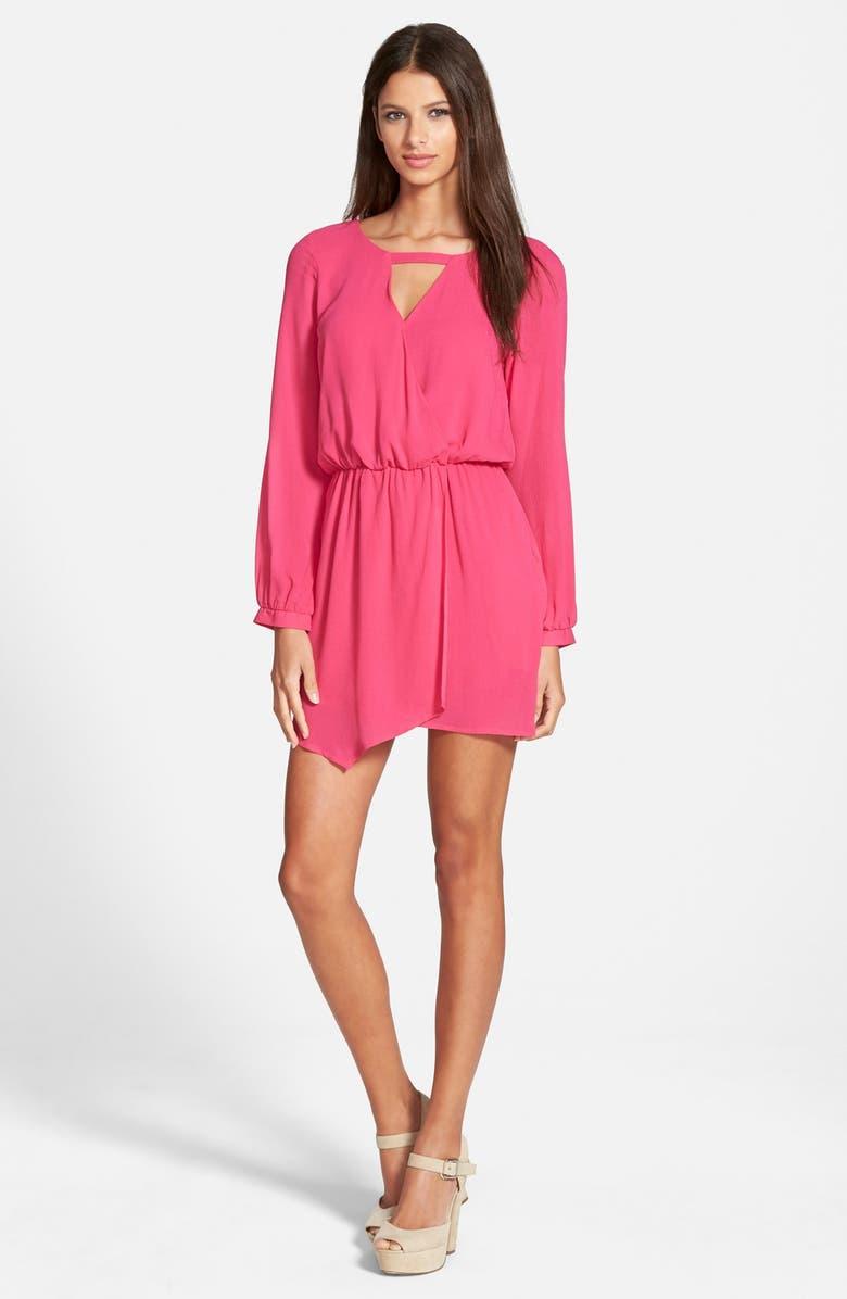 4SI3NNA Long Sleeve Surplice Dress, Main, color, Pink
