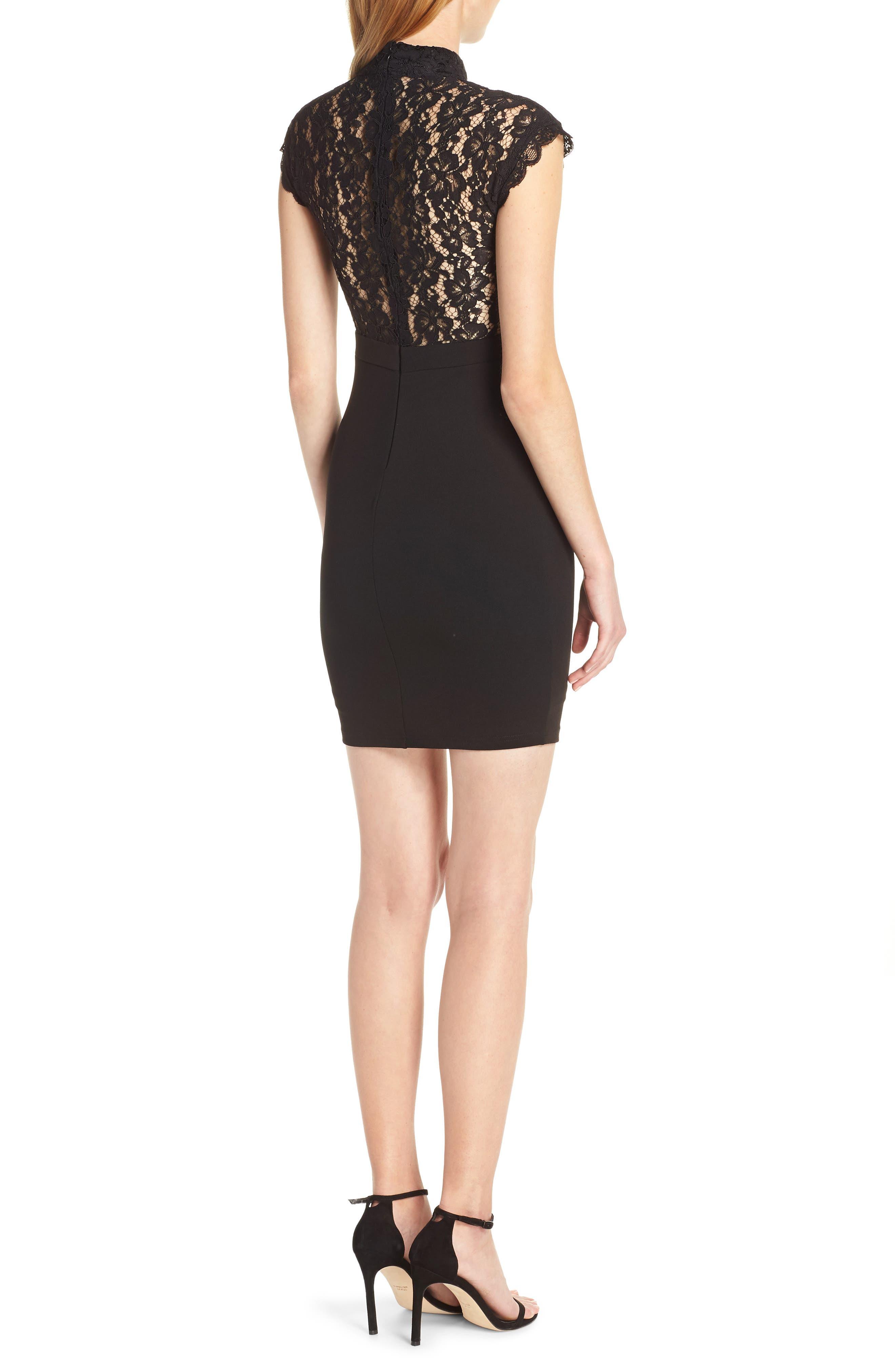,                             Lace Sheath Dress,                             Alternate thumbnail 2, color,                             BLACK