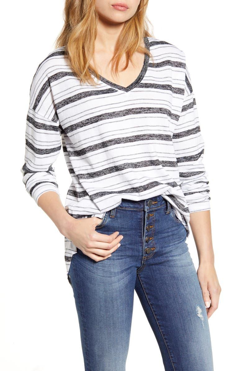 CASLON<SUP>®</SUP> Shirttail Tunic, Main, color, BLACK GREY PENNY STRIPE