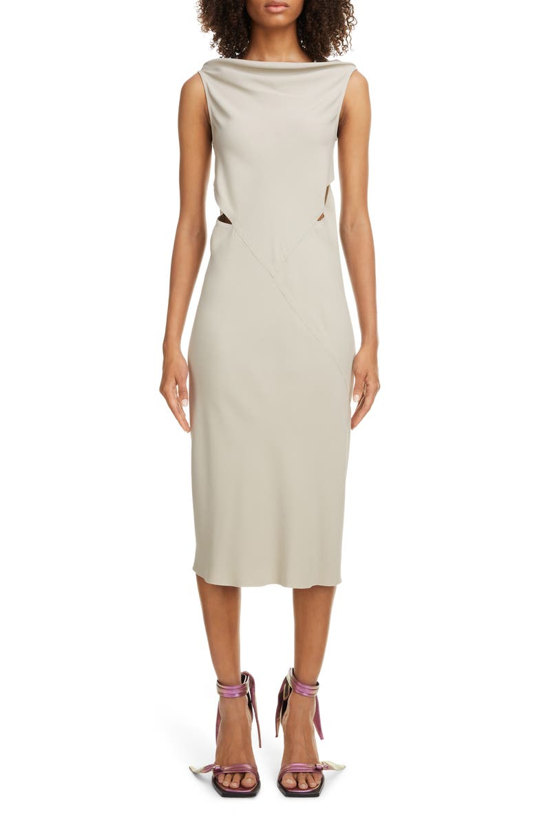 RICK OWENS Back Cutout Cady Midi Dress, Main, color, PEARL