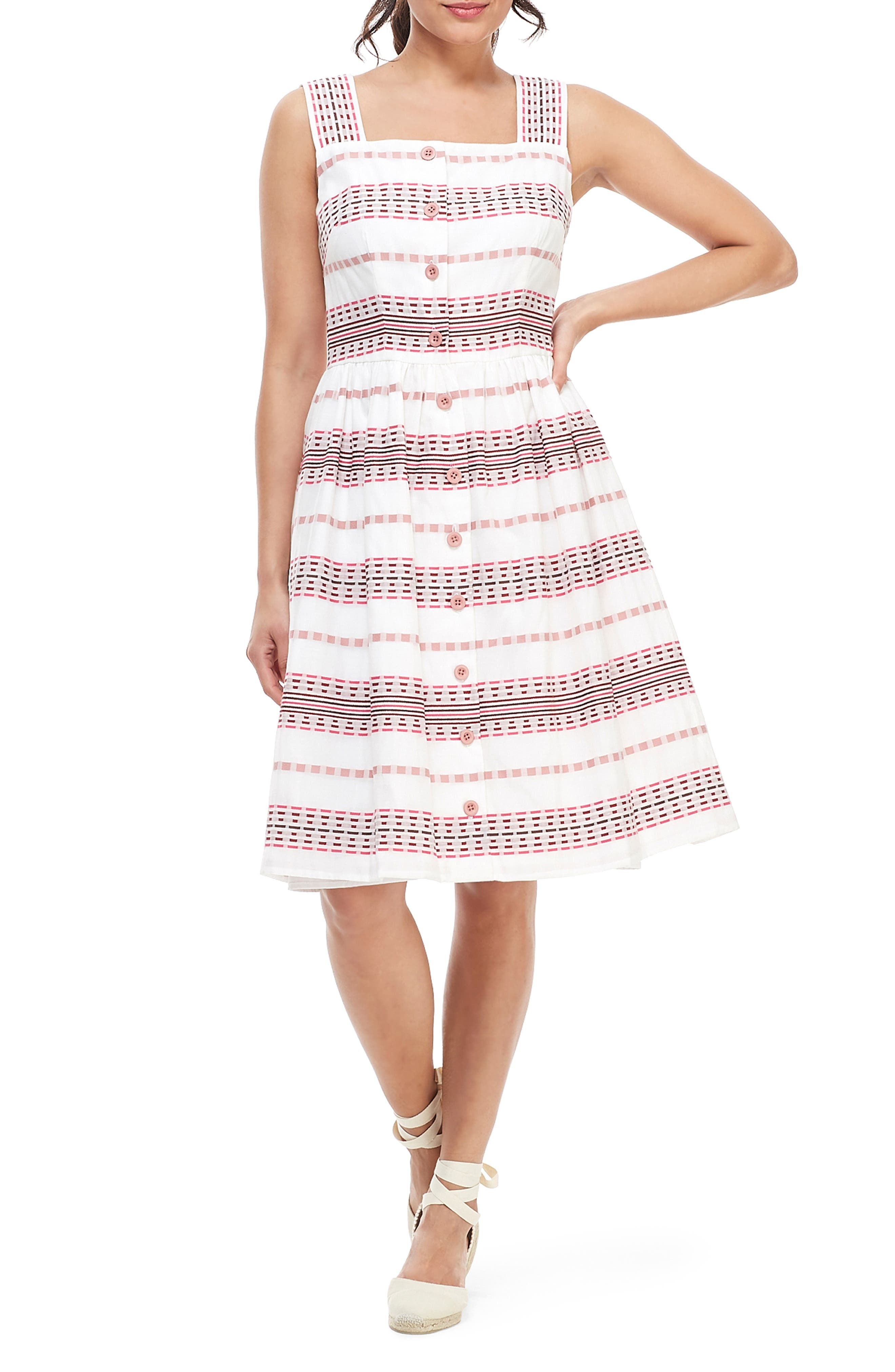 Gal Meets Glam Collection Ashton Square Neck Dobby Sundress, Pink