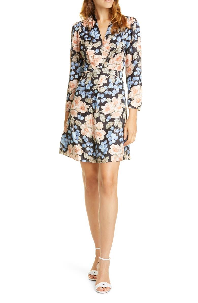 REBECCA TAYLOR Rose Long Sleeve Minidress, Main, color, BLACK COMBO