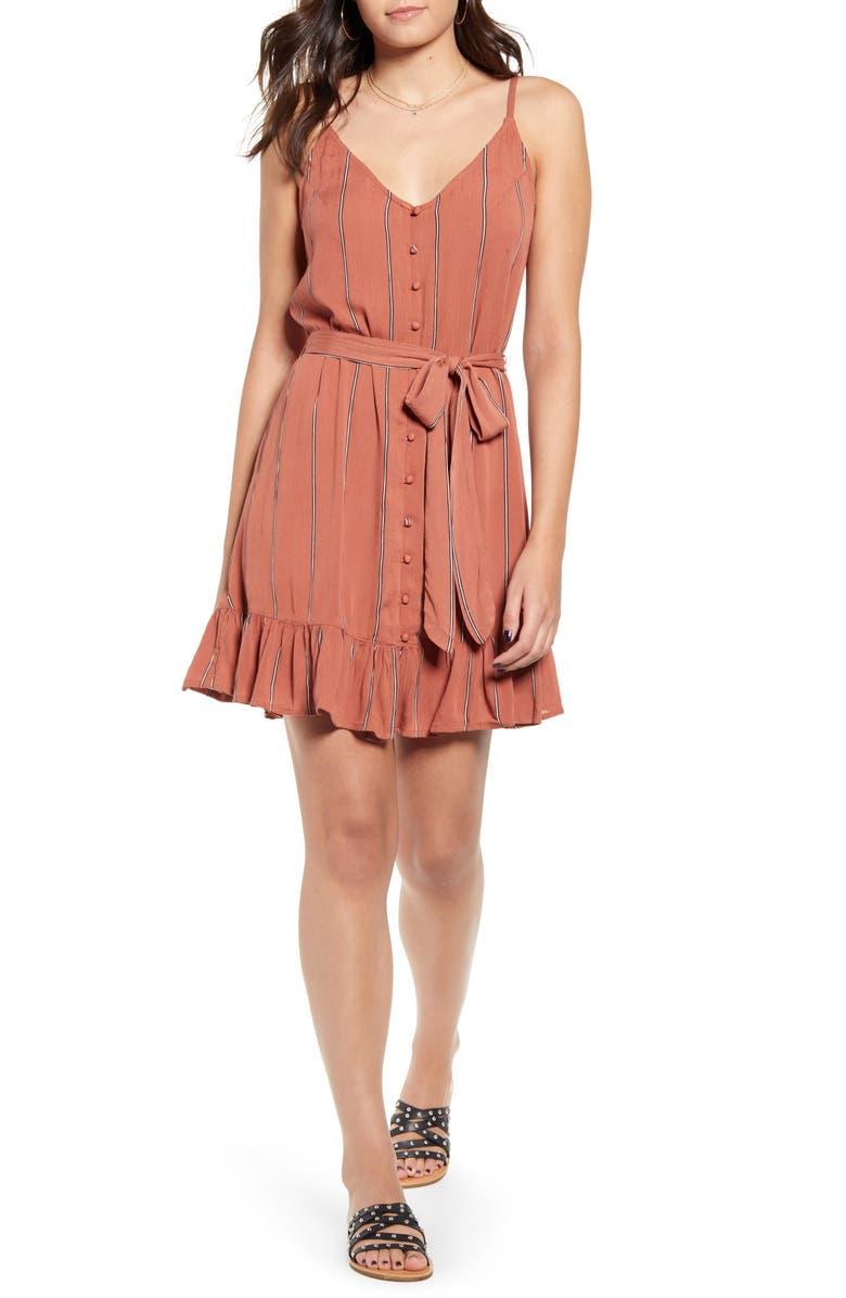 BILLABONG Air Dancer Sleeveless Ruffle Hem Minidress, Main, color, CACAO