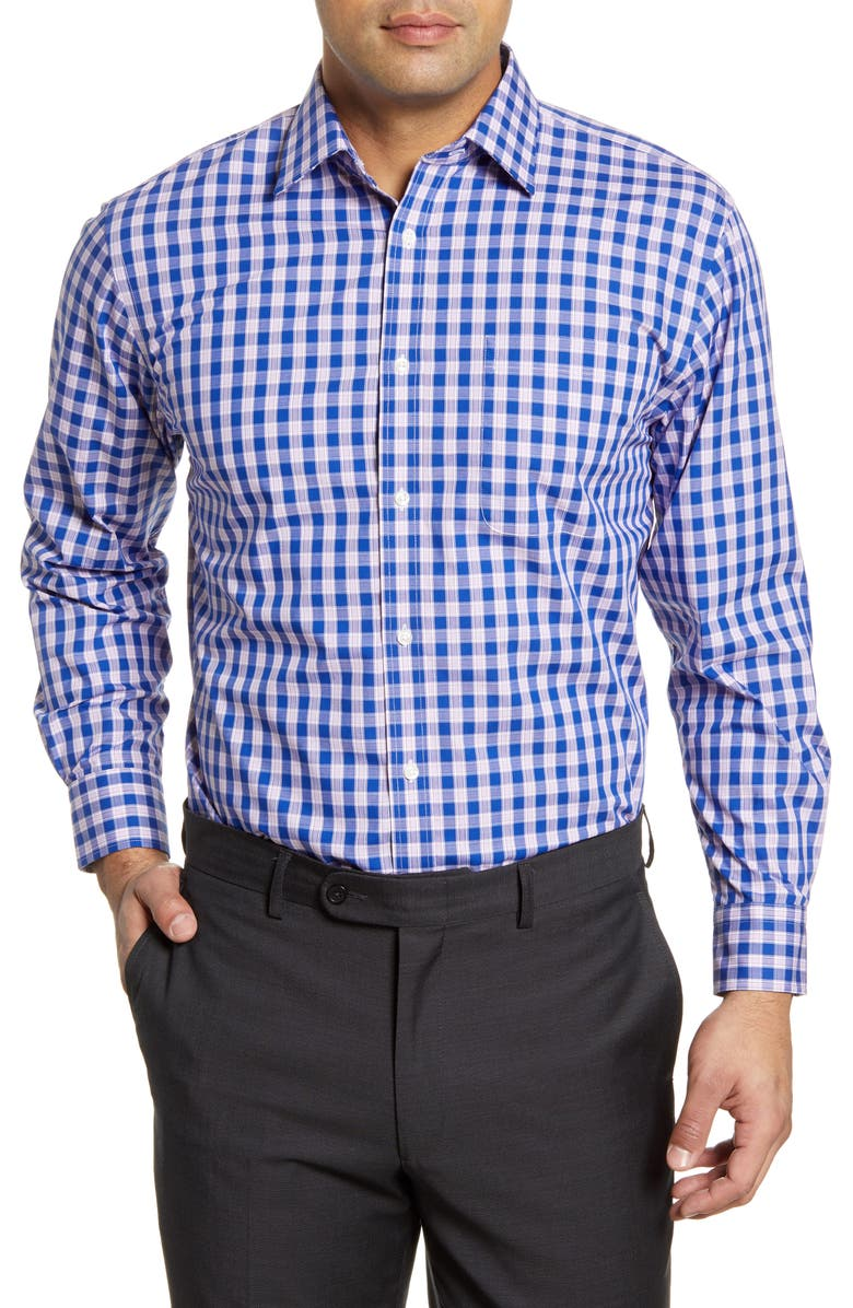 NORDSTROM MEN'S SHOP Traditional Fit Non-Iron Check Dress Shirt, Main, color, BLUE MAZARINE