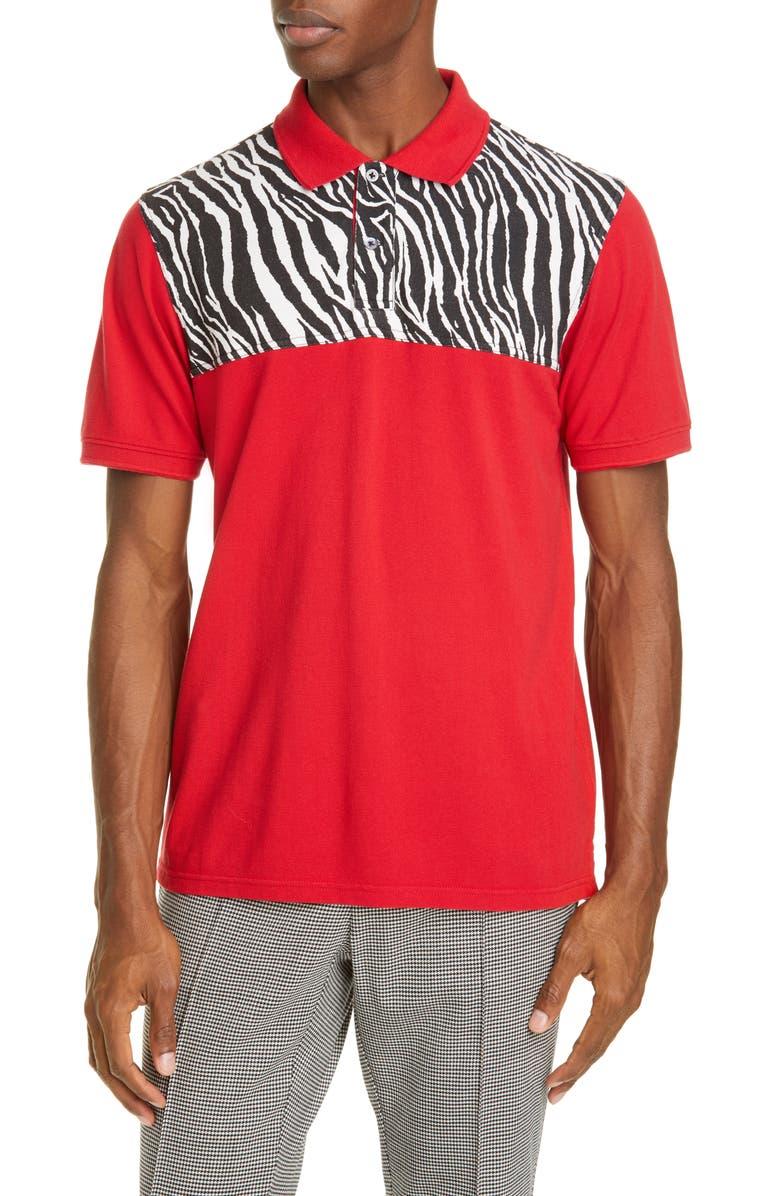 OVADIA Billy Zebra Piqué Polo, Main, color, RED/ ZEBRA