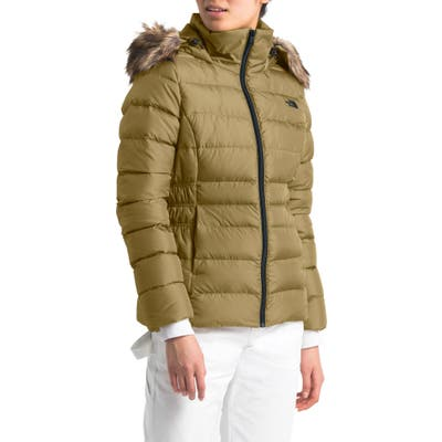 The North Face Gotham Ii Hooded Water Resistant 550-Fill-Power Down Jacket With Faux Fur Trim, Beige
