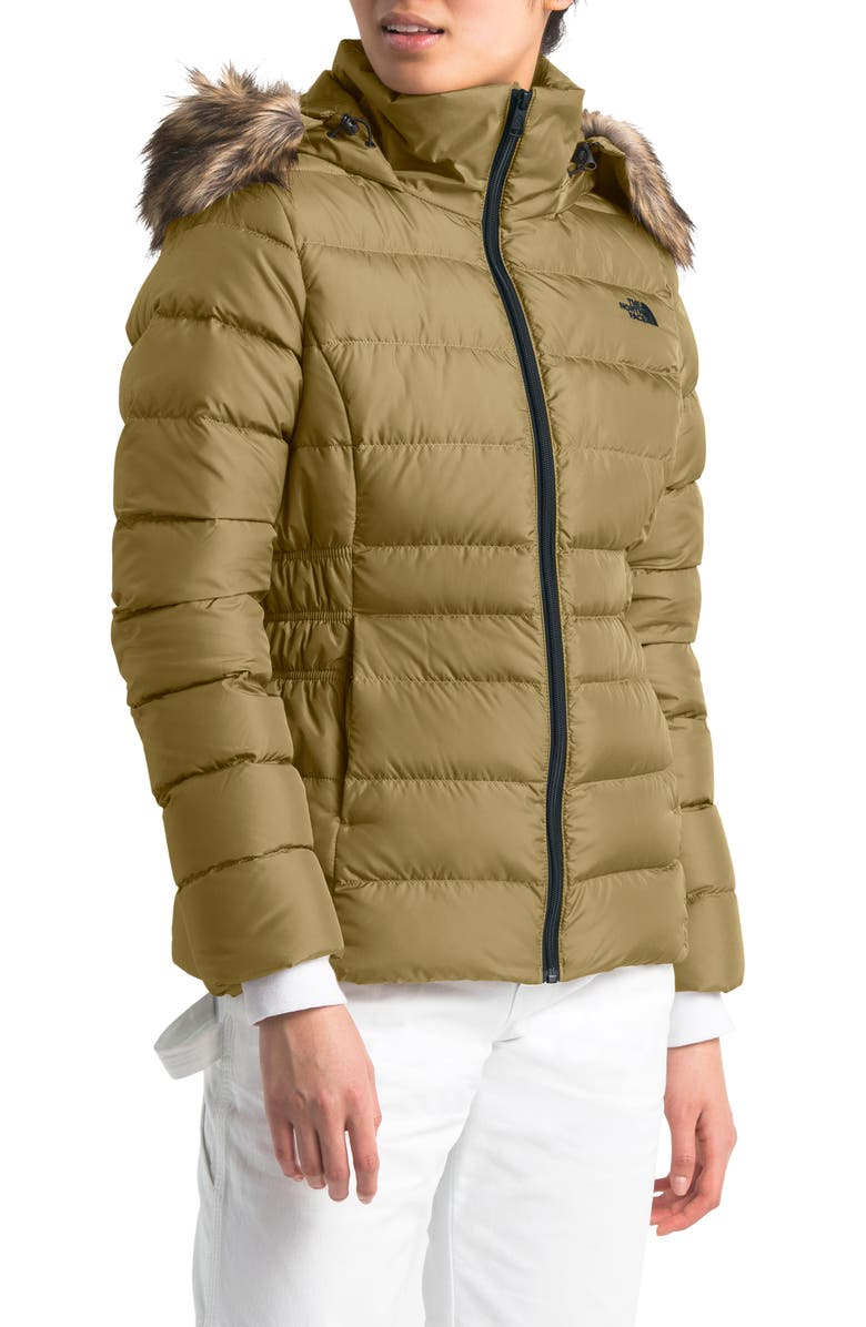 THE NORTH FACE Gotham II Hooded Water Resistant 550-Fill-Power Down Jacket with Faux Fur Trim, Main, color, BRITISH KHAKI