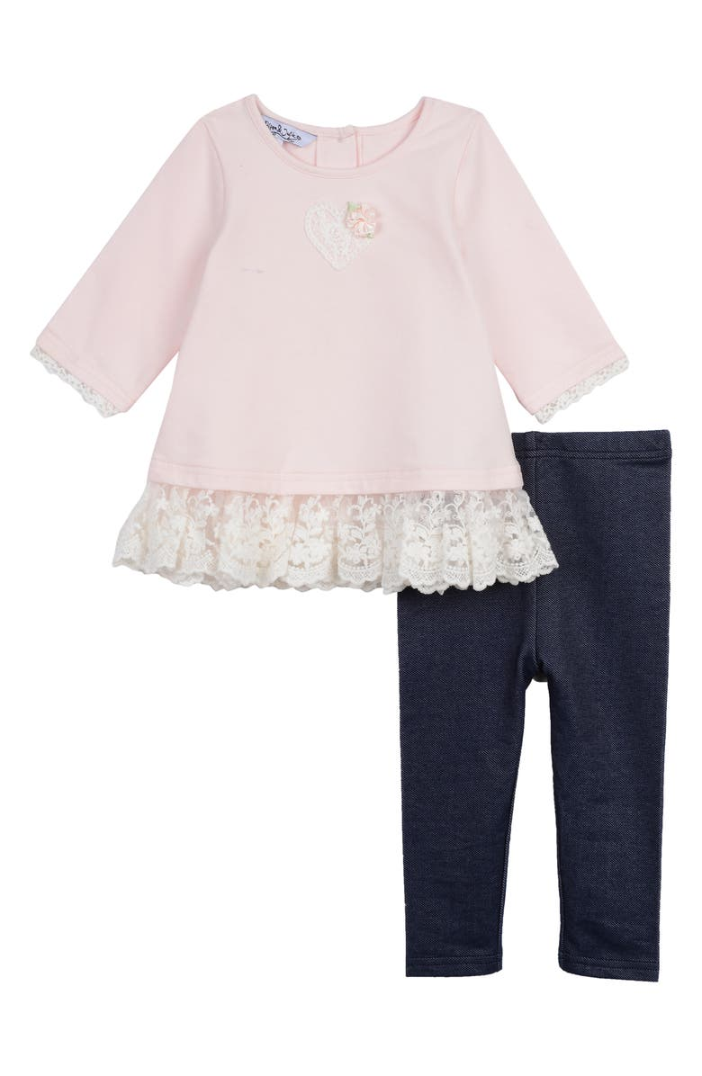 PIPPA & JULIE Lace Trim T-Shirt & Leggings Set, Main, color, PINK