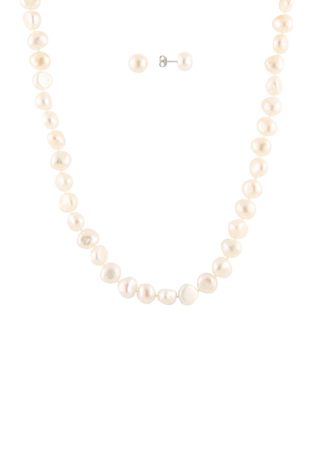 Splendid Pearls Sterling Silver 2-Piece 8-9mm Freshwater Pearl Necklace & Stud Earrings Set