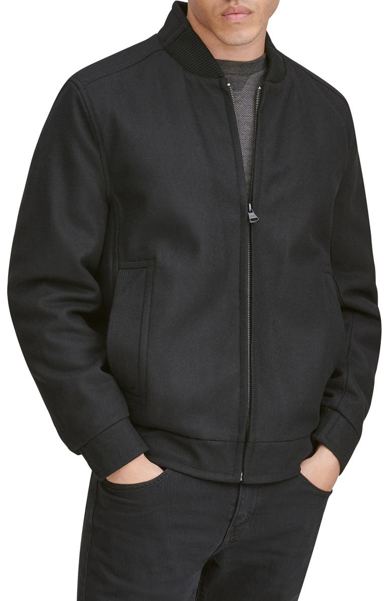 MARC NEW YORK Barlow Wool Blend Bomber Jacket, Main, color, BLACK