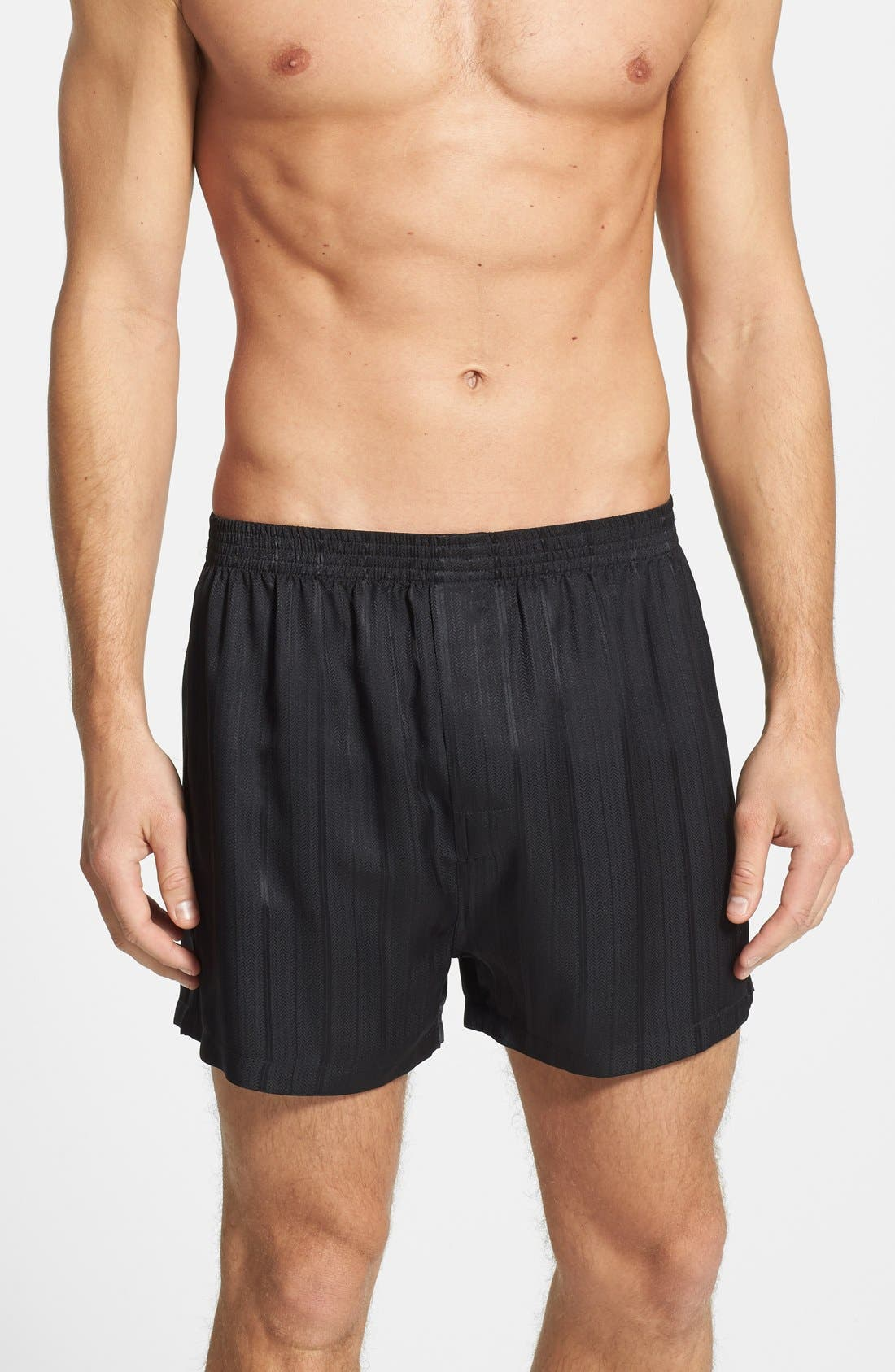 ,                             Herringbone Stripe Silk Boxer Shorts,                             Main thumbnail 1, color,                             NIGHT
