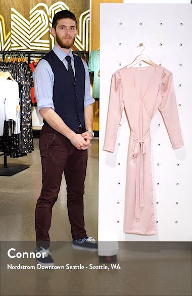 x Influencing in Color Dove Long Sleeve Wrap Midi Dress, sales video thumbnail