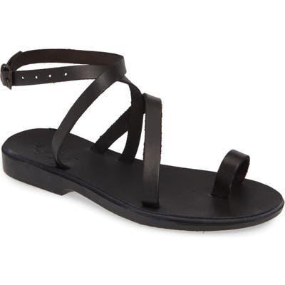 Jerusalem Sandals Mara Toe Loop Sandal, Black