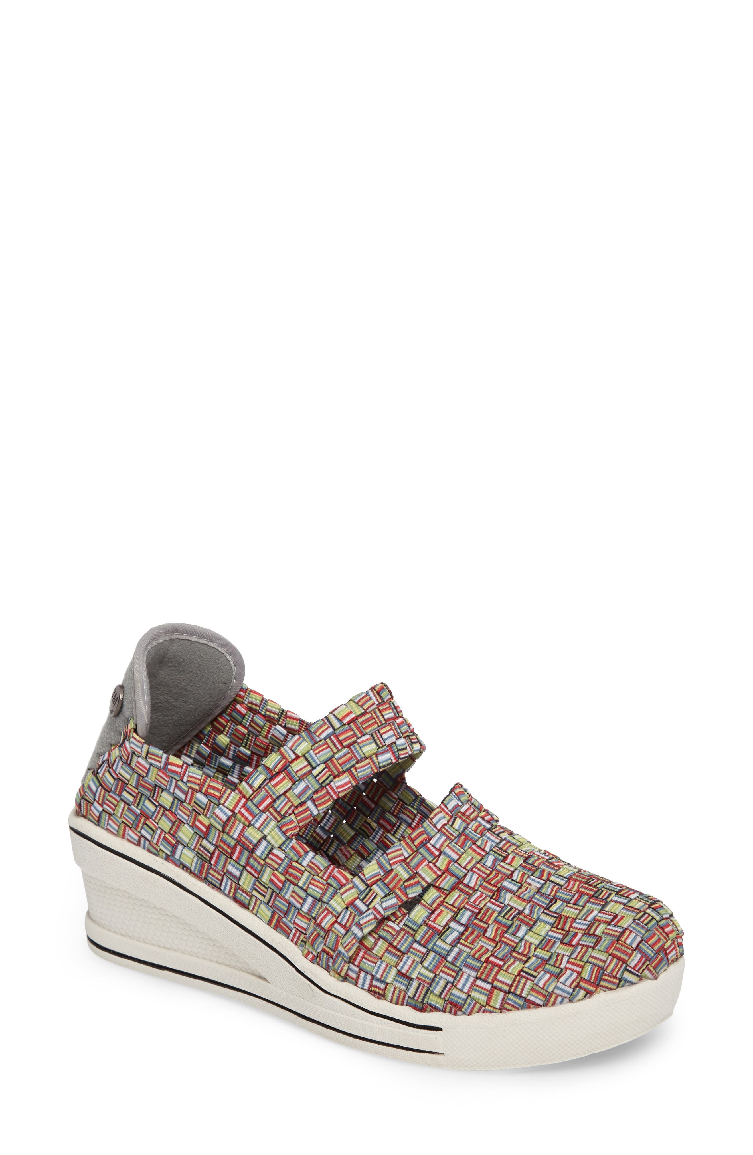 Bernie Mev. Frontier Woven Mary Jane Wedge, Pink