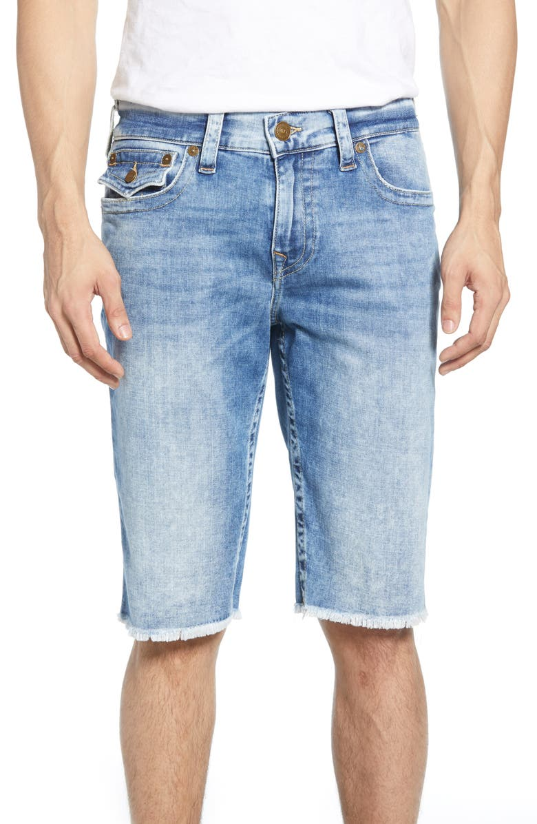 TRUE RELIGION BRAND JEANS Ricky Relaxed Fit Shorts, Main, color, LIGHT ADAPTATION